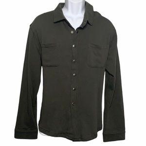 Thomas Dean Charcoal Gray Solid Fleece Button Down